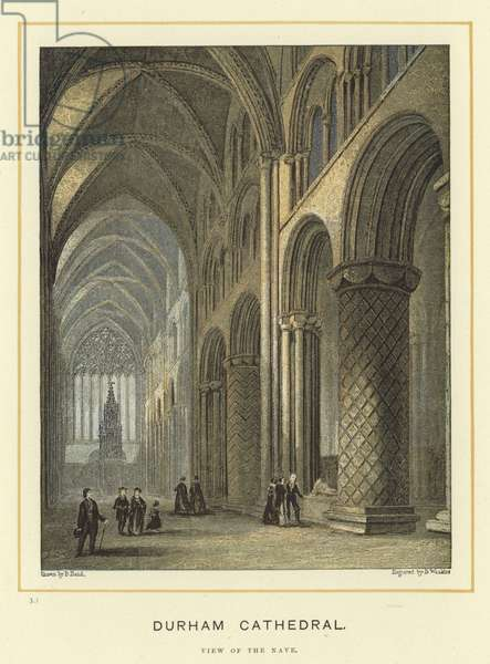 Durham Cathedral, view of the nave (colour litho)