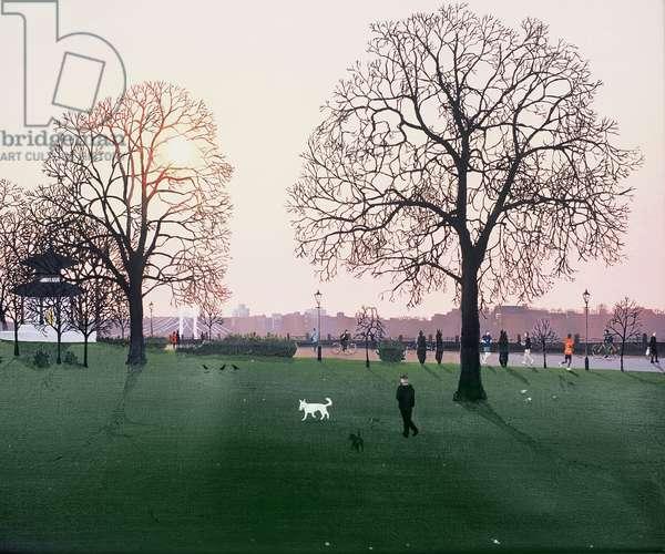 Sunset, White Dog, 2008,( oil on canvas)