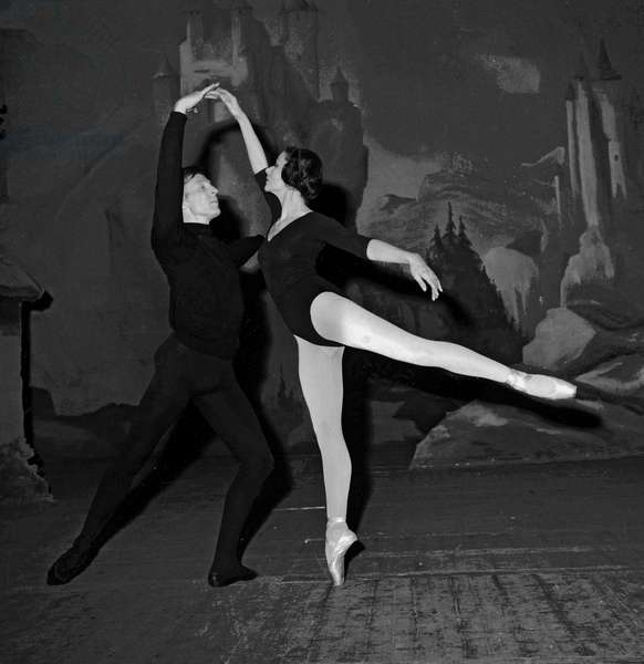 """Rehearsal of the ballet """"Gisele"""" at Paris Opera, March2, 1964 : Yvette Chauvire and Eric Brunh (b/w photo)"""