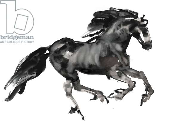 Gallop, 2015, (ink and watercolour on paper)