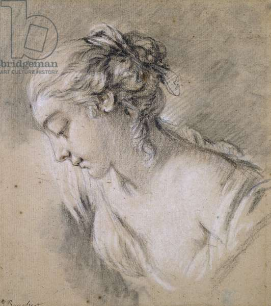 Bust of a Girl in profile to left (chalk on paper)