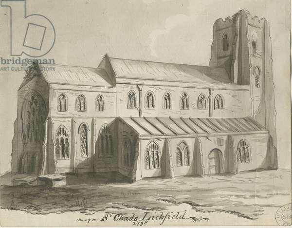 Lichfield - St. Chad's Church: sepia drawing, 1798 (drawing)