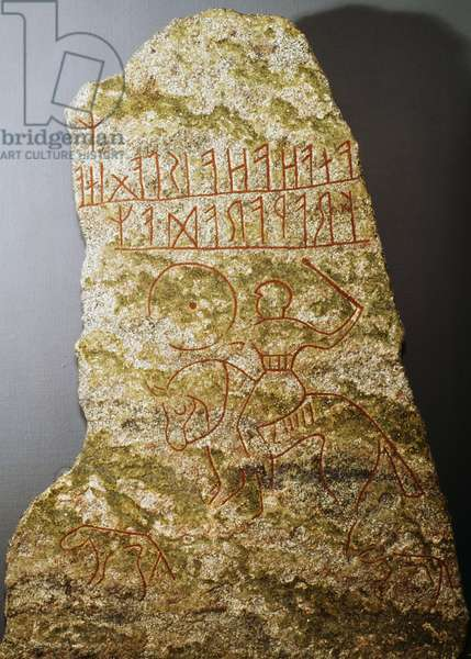 Stele with runic engraving depicting knight, Scandinavian civilization, 5th -6th century
