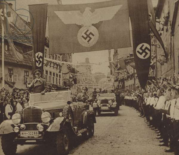 Adolf Hitler visiting the Sudetenland after its annexation by Nazi Germany agreed at the Munich Conference, October 1938 (b/w photo)