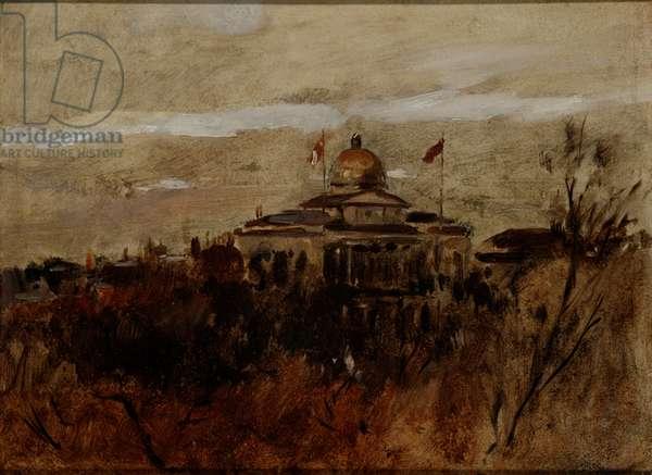 The Boston Common, c.1890 (oil on board)