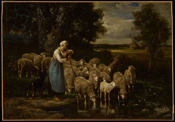 Shepherdess and Sheep, Fontainebleau (oil on canvas)