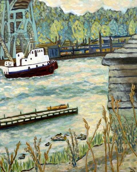 Under St. John's Bridge, 2019 (acrylic on canvas)