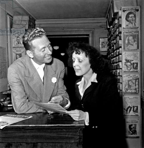 French Singers Charles Trenet and Edith Piaf in January 1947 (b/w photo)