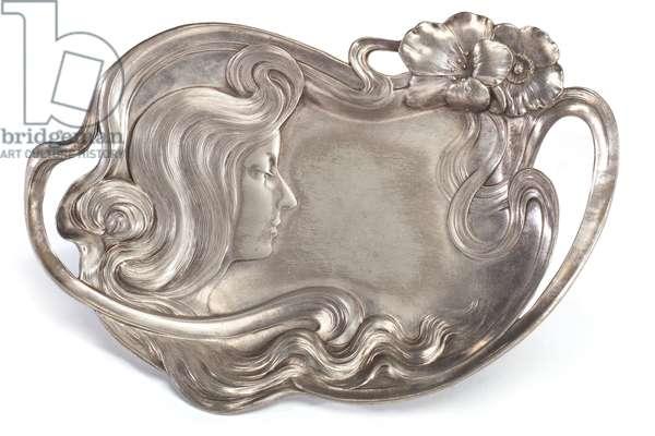 Art Nouveau Figural Dish, c.1900 (silver plated metal)