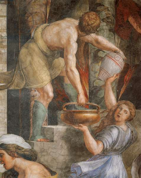 Fire in the Borgo, 1514, workshop of Raphael (1483-1520), fresco, Room of the Fire in the Borgo, Apostolic Palace, Vatican City, Detail