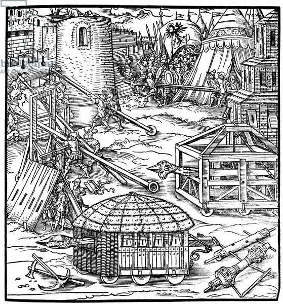 Various forms of siege equipment, including battering rams. Woodcut from Gaultherius Rivius Architectur ... Mathematischen ... Kunst 1547.