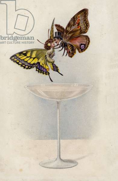 Man and woman, as butterflies, hovering above a glass of Champagne (colour litho)