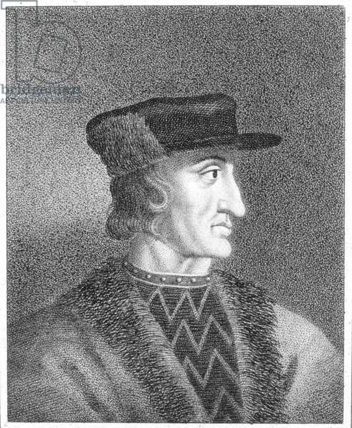 CHARLES VI (1368-1422) King of France, 1380-1422. Aquatint, 19th century.
