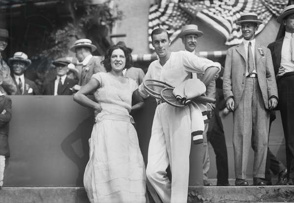 Tennis Players Suzanne Lenglen and Bill Tilden, West Side Tennis Club, Queens, New York, USA, Bain News Service, September 1922 (b/w photo)