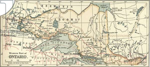 Map of the western part of Ontario, Canada