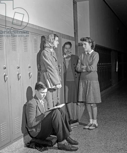 HIGH SCHOOL STUDENTS, 1943. Students at Woodrow Wilson High School in Washington, D.C. Photograph by Esther Bubley, 1943.