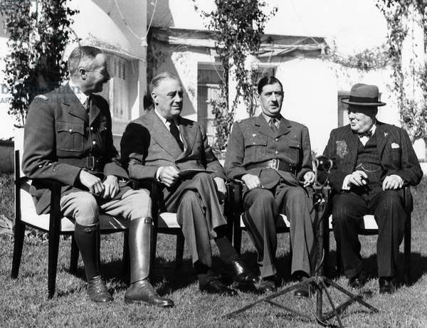CASABLANCA CONFERENCE Allied leaders meeting at the Casablanca Conference, at the Hotel Anfa in Casablanca, Morocco, January 1943. Left to right: General Henri Honoré Giraud, High Commissioner of French North Africa; U.S. President Franklin D. Roosevelt; General Charles de Gaulle, leader of the Free French; and British Prime Minister Winston Churchill.