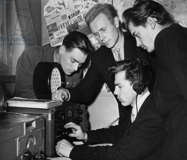 Students of the Moscow Electrotechnical Institute Communicating with their American Counterparts Via Ham Radio, their American Colleagues Inform Them of Having Heard the Signals from Sputnik 1, 1957.