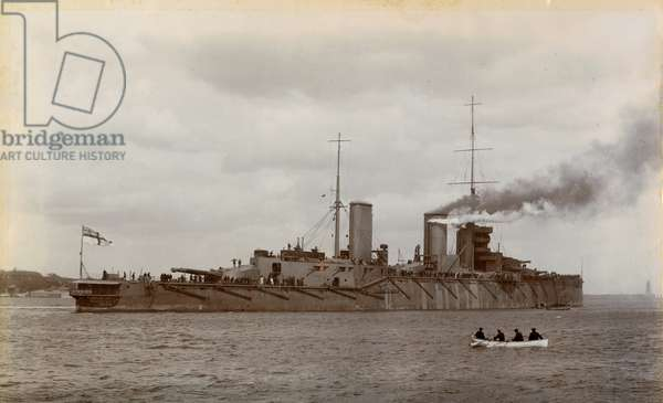 HMS Queen Mary leaving the River Tyne, 1912 (b/w photo)