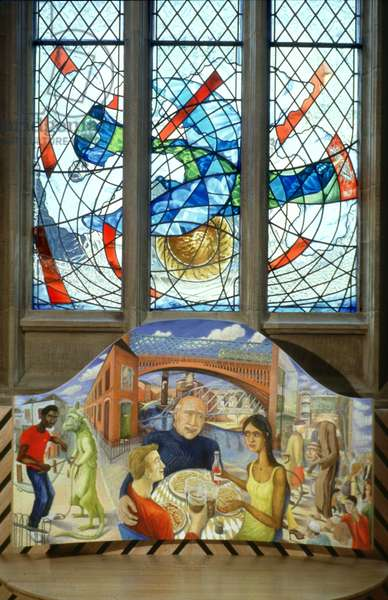 Flight window and Trinity reredos, 2001 (Stained glass and oil on wood)
