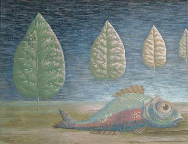 Fish in a Landscape, 1943 (tempera on board)