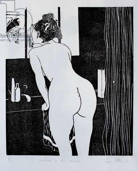 Woman in the mirror, (woodcut)