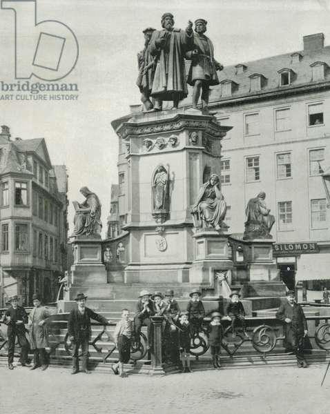 The Gutenberg Monument, Frankfort (b/w photo)