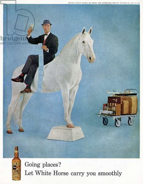 AD: WHISKEY, 1959 American advertisement for White Horse Whiskey. Photograph, 1959.