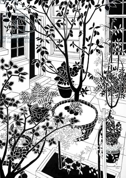 The Back Door B&W, 2016 (indian ink on board)