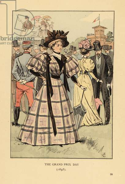The Grand Prix Day, 1895. Woman in check dress with wide sleeves and ribbons at Longchamp race track for a big race. Crowd of fashionable gentlemen in top hats, soldiers and passengers in carriages. Handcoloured lithograph by R.V. after an illustration by Francois Courboin from Octave Uzanne's Fashion in Paris, William Heinemann, London, 1898.