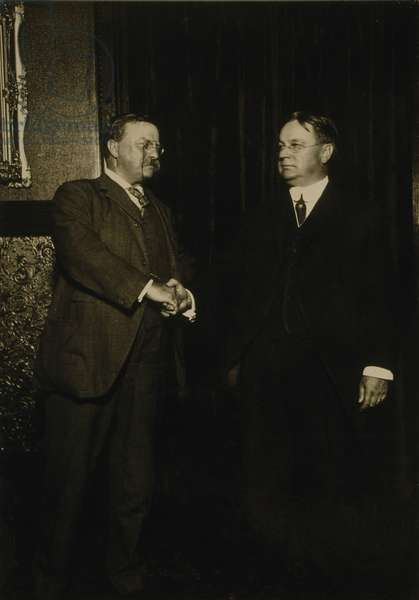 Theodore Roosevelt and Hiram Johnson, shaking hands after being nominated as presidential candidates for the Progressive or Bull Moose party. The third party divided the Republican vote, resulting in the election of Democrat, Woodrow Wilson. 1912