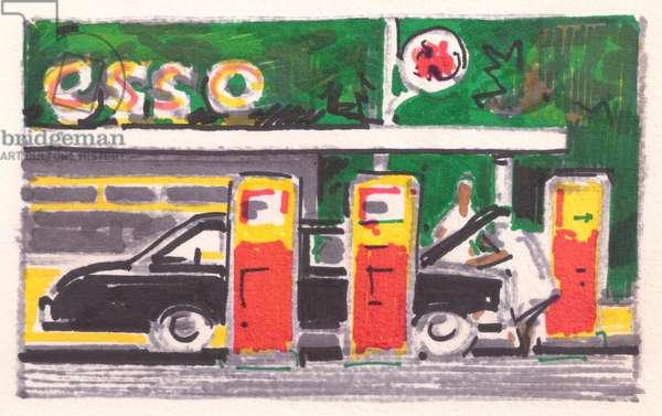 Esso Petrol Station in Sri Lanka (felt-tip pen on paper)