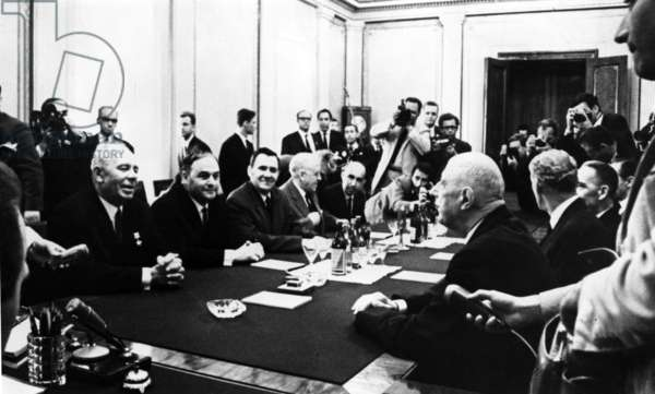 Franco-Soviet talks at the Kremlin, Moscow, between General de Gaulle and President Podgorny, with Maurice Couve de Murville, Prince Andronikov, Mr. Gromyko and Mr. Zorine, 21 June 1966 (b/w photo)