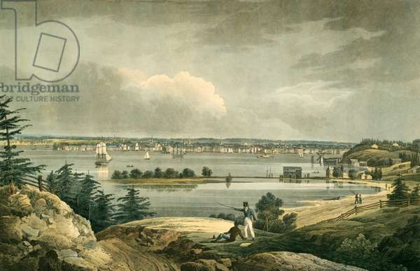 New York from Heights near Brooklyn, pub. 1828 (hand coloured engraving)