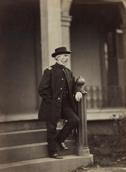 Major General of Union Army Edwin Vose Sumner, full-length Portrait, Standing on Steps, American Civil War, 1861 1861 (b/w photo)