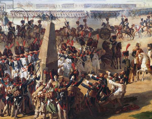French army pulling down Rosbach Column on October 18, 1806, Germany, painting by Pierre-Antoine-Augustin Vafflard, Napoleonic Wars, 19th century Detail