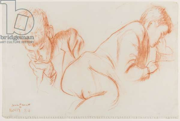 Reading boy, 17 November 1954 (red chalk on paper)