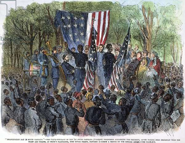 SC: EMANCIPATION, 1863 1st South Carolina (Colored) Volunteer Regiment celebrates the Emancipation of the Slaves at Port Royal Island on 1 January 1863: wood engraving from a contemporary American newspaper.