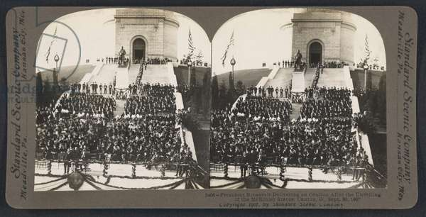 President Roosevelt delivering an oration after the unveiling of the McKinley statue, Canton, Ohio, USA, Stereo Card, Standard Scenic Company, September 30, 1907 (b/w photo)