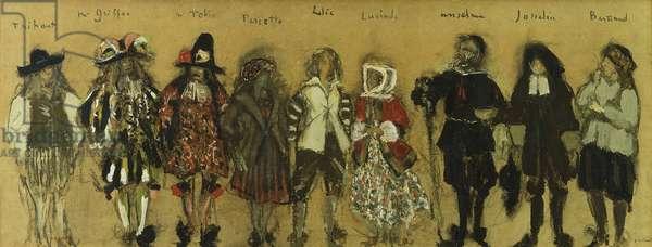 Study for costumes for nine actors in 'La Coupe Enchantee' for Jean de la Fountaine; Etudes de Costumes pour les neufs Personnages de la Coupe Enchantee par Jean de la Fontaine, 1918 (oil on board)