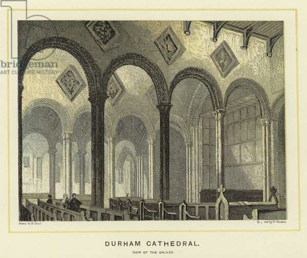 Durham Cathedral, view of the Galilee (colour litho)