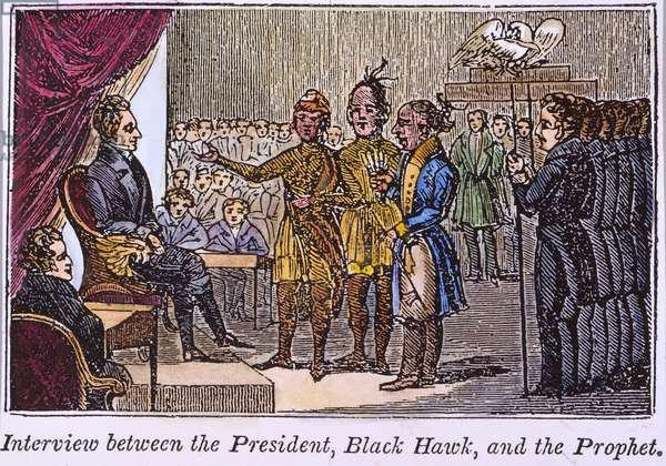 JACKSON AND NATIVE AMERICANS, 1833 The 1833 meeting at the White House of President Andrew Jackson, the Native American mystic Tenskwatawa ('The Prophet'), and Sauk Chief Black Hawk, who had been captured the previous year during the Black Hawk War. Engraving, 1836.