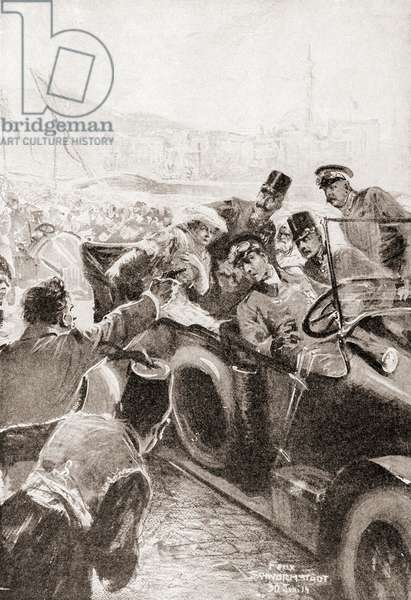 The assassination of Franz Ferdinand and his wife, Sophie, Duchess of Hohenberg, 28 June, 1914 in Sarajevo by Gavrilo Princip (litho)
