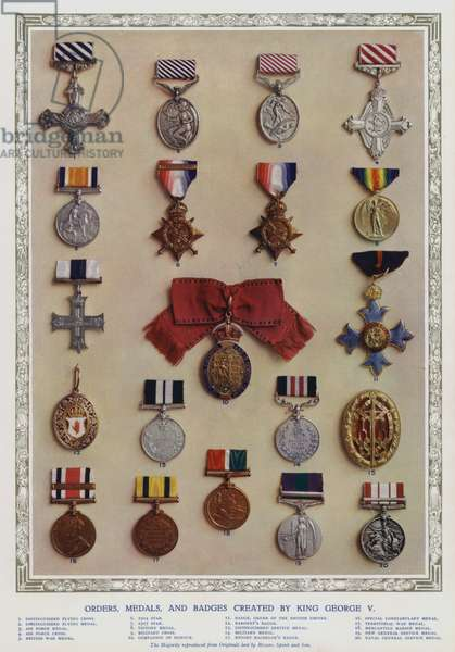 Orders, medals and badges created by King George V (colour litho)