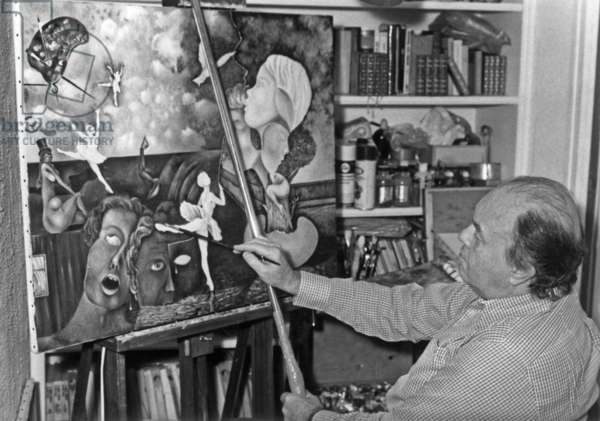 Pierre Velly Alias Pierre De Varga In His Workshop Giving A Last Touch To One Of His Canvas April 11, 1986 (b/w photo)