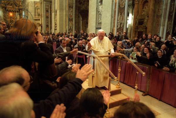 Vatican City, about 1999. Pope John Paul II in St. Peter's Basilica (photo)