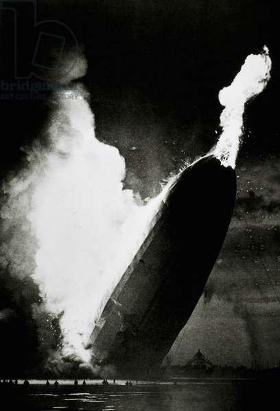 German Airship, Hindenburg, Crashing and Burning at Lakehurst, New Jersey, USA, May 6, 1937