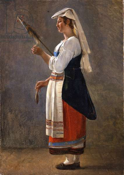 One of a pair of Italian studies: An Italian Peasant Spinning, 1820 (oil on paper laid on canvas)