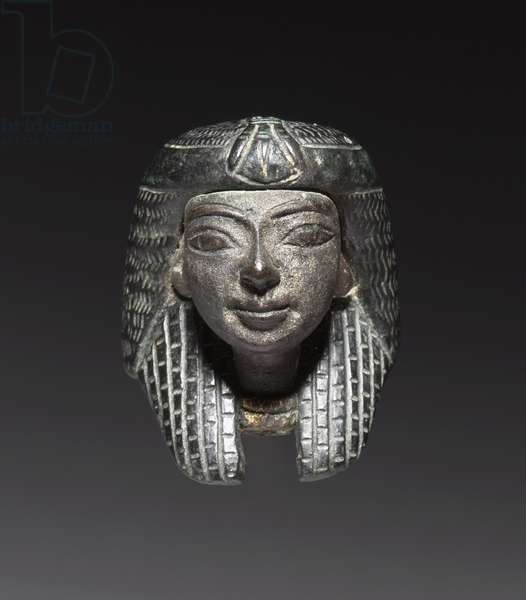 Bronze Mount from a 'Shawabty Bundle': Head, Late 18th to 19th Dynasty, c.1336-1256 BC (bronze, black copper & gilding)