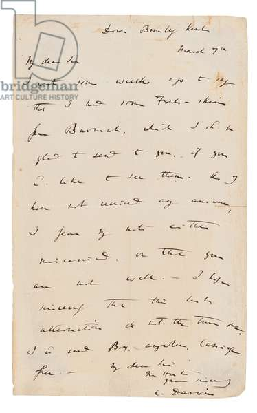 Autograph letter signed ('C. Darwin'), to an unnamed recipient (W.B. Tegetmeier), Down, Bromley, Kent, 7 March 1858 (pen & ink on paper)